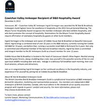 Moyra Turner Hospitality Award